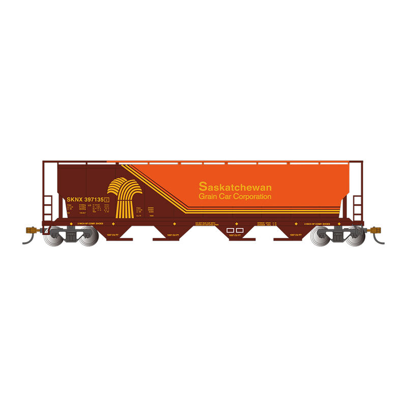 HO 4-Bay Cylindrical Hopper with FRED, SKNX Brown & Orange