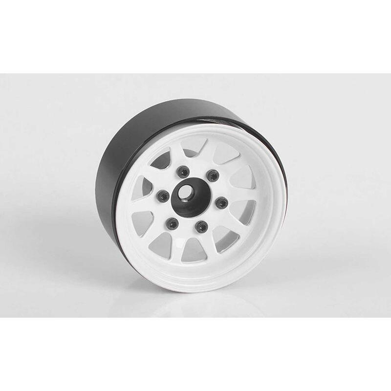 """OEM 6-Lug Stamped Steel 1.55"""" Beadlock Wheels, White (4)"""