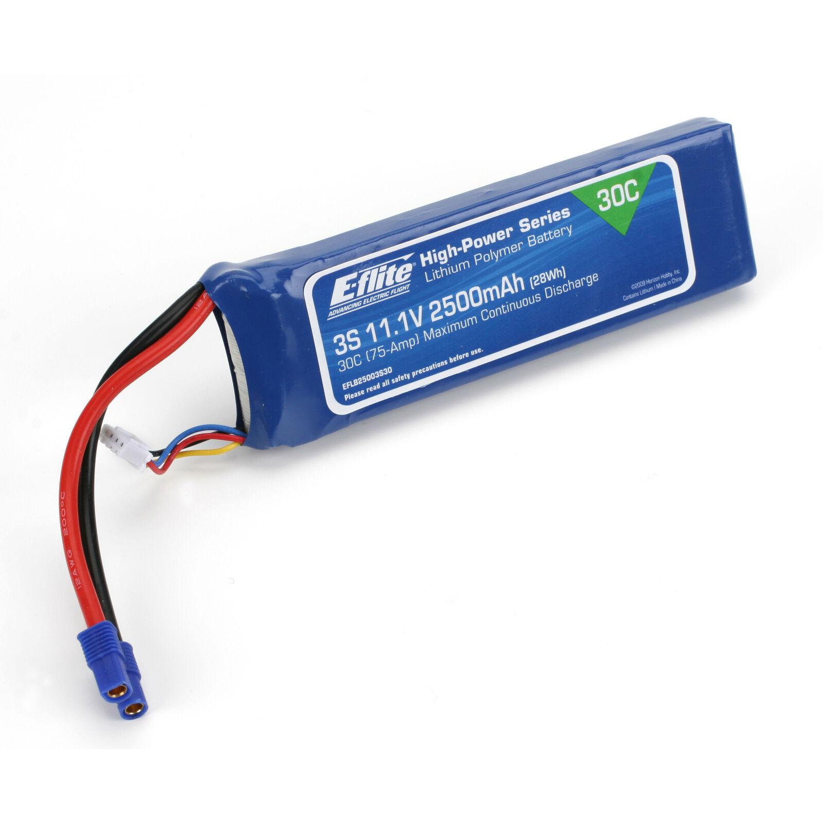 11.1V 2500mAh 3S 30C LiPo, Battery: EC3