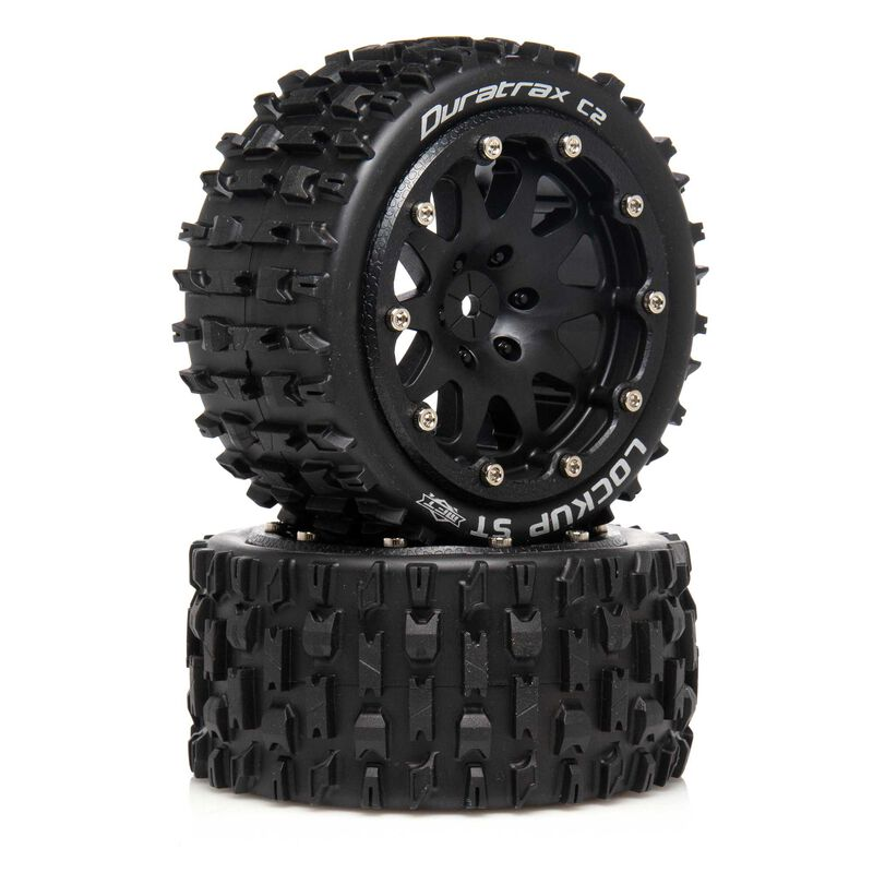 "Lockup ST Belted 2.8"" 2WD Mounted Rear Tires, 0 Offset, Black (2)"