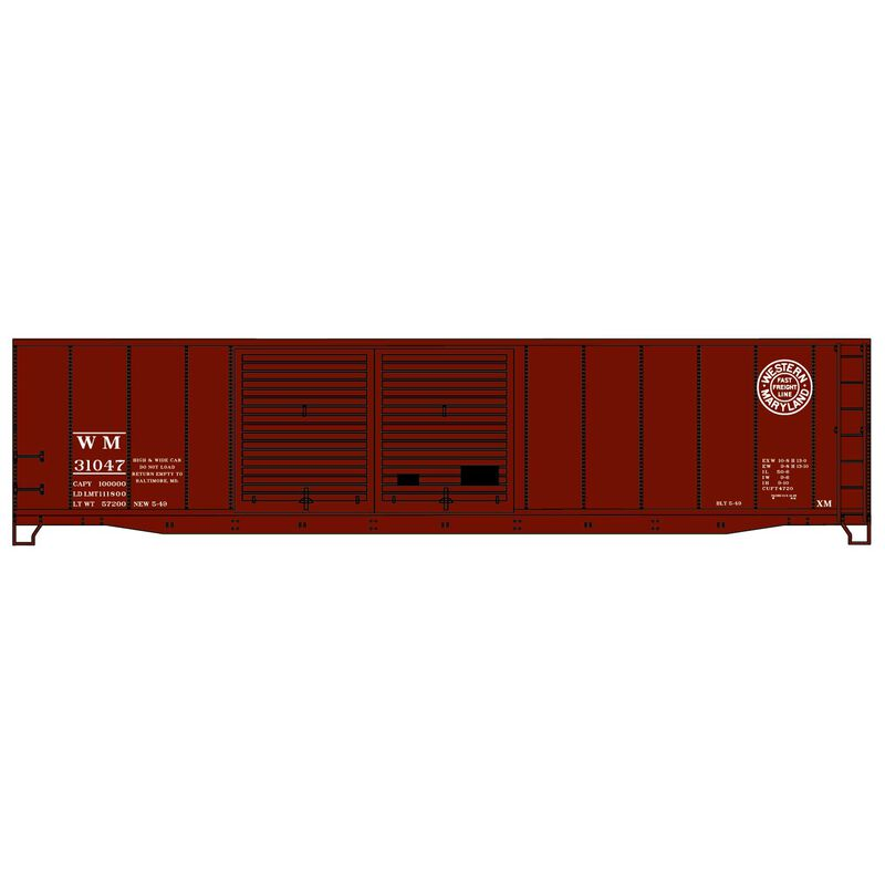 HO KIT 50' AAR Double Door Steel Box WM