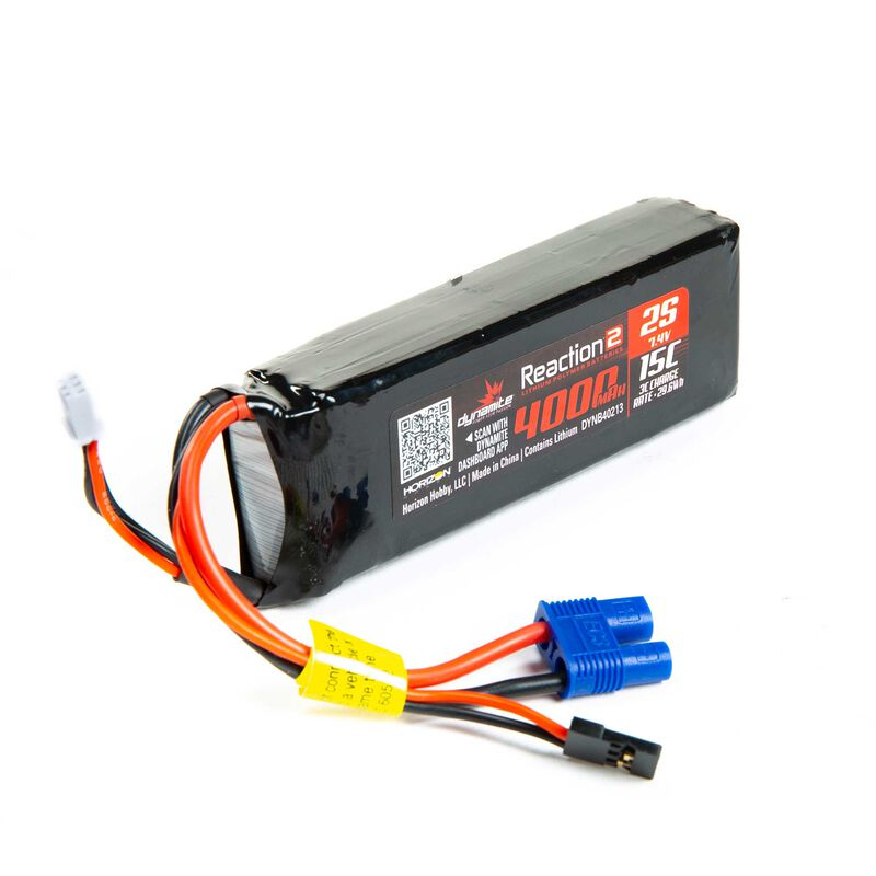 7.4V 4000mAh 2S 15C Reaction 2.0 LiPo Receiver Battery: Universal Receiver, EC3