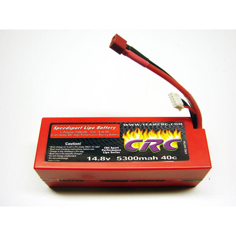 14.8V 5300mAh 4S 40C Speedsport Hardcase LiPo Battery: Deans