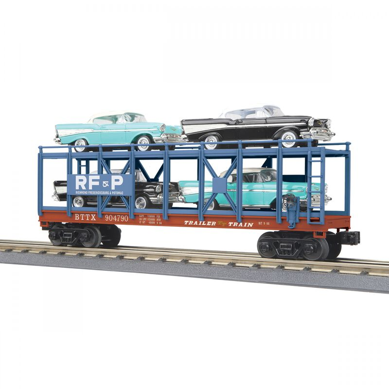 O-27 Auto Carrier Flat Car with 4 '57 Bel Air RF&P