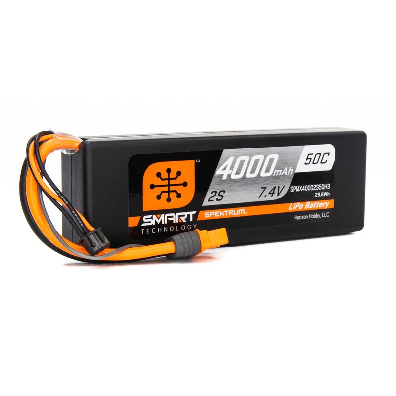 7.4V 4000mAh 2S 30C Smart LiPo Battery, IC3
