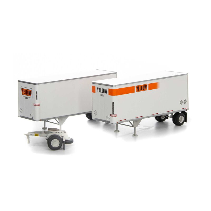 HO RTR 28' Trailers w/Dolly, Yellow (2)