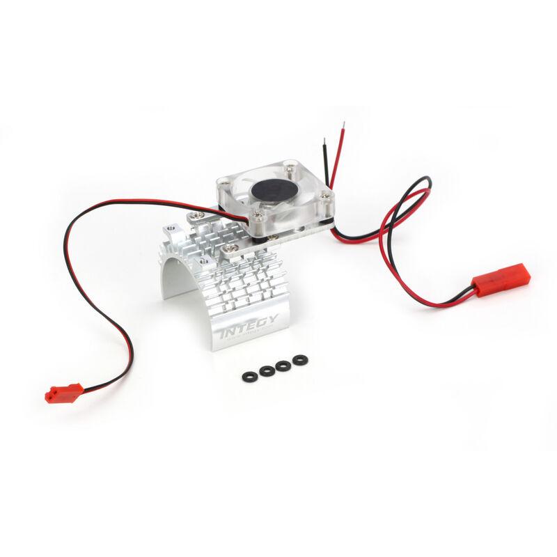 Motor Heatsink and Cooling Fan, Silver