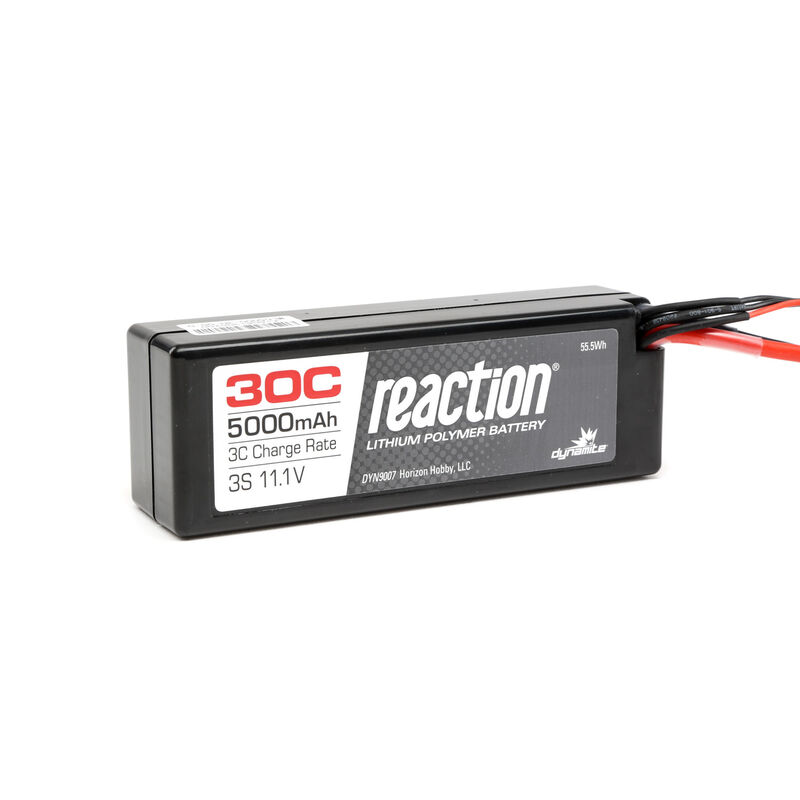 11.1V 5000mAh 3S 30C Reaction Hardcase LiPo Battery: EC3