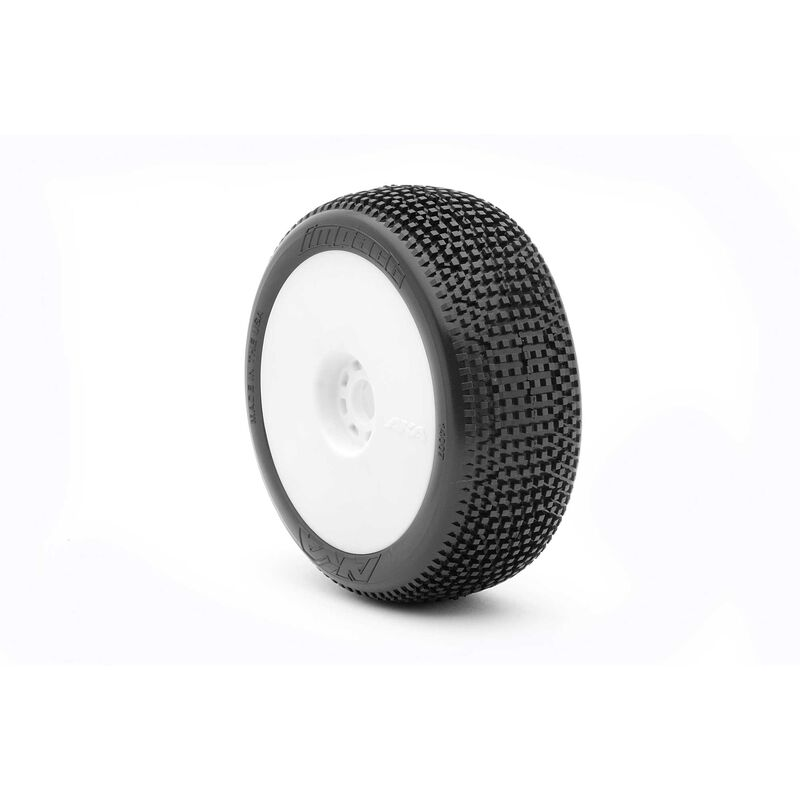 1/8 Impact EVO Super Soft Long Wear Front/Rear Wheel Mounted with Red Inserts, White: Buggy (2)
