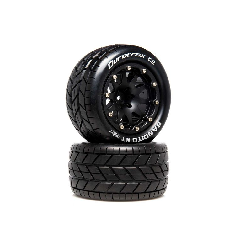 "Bandito MT Belted 2.8"" 2WD Mounted Rear Tires, .5 Offset, Black (2)"