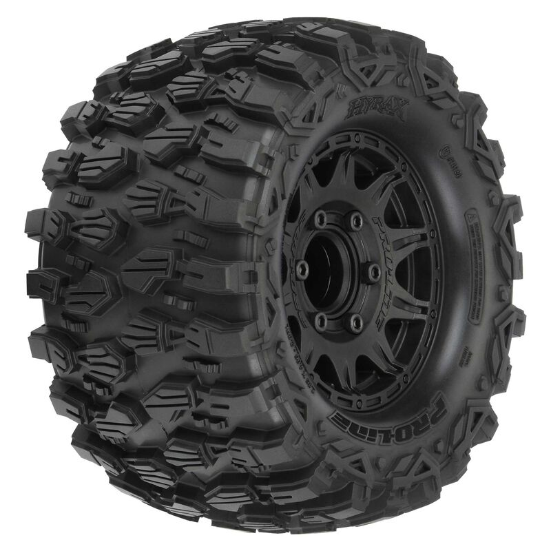 """1/10 Hyrax Front/Rear 2.8"""" MT Tires Mounted 12mm Blk Raid (2)"""