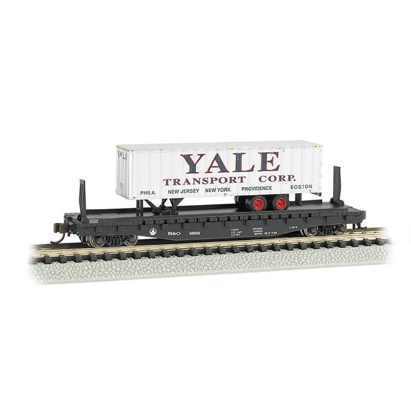 """N 52'6"""" Flatcar w Piggyback Trailer ACL Yale"""