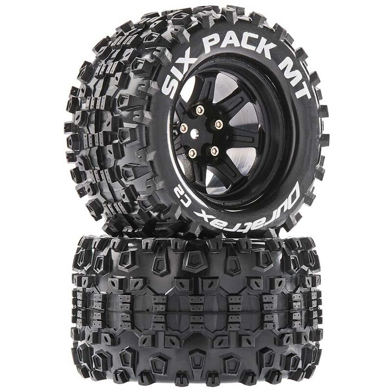 Six Pack MT 2.8 Mounted Tires, Black 14mm Hex (2)