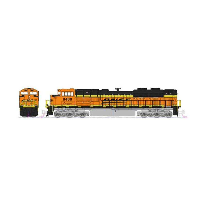 """N EMD SD70ACe BNSF """"Swoosh"""" Nose HL with DCC #8400"""