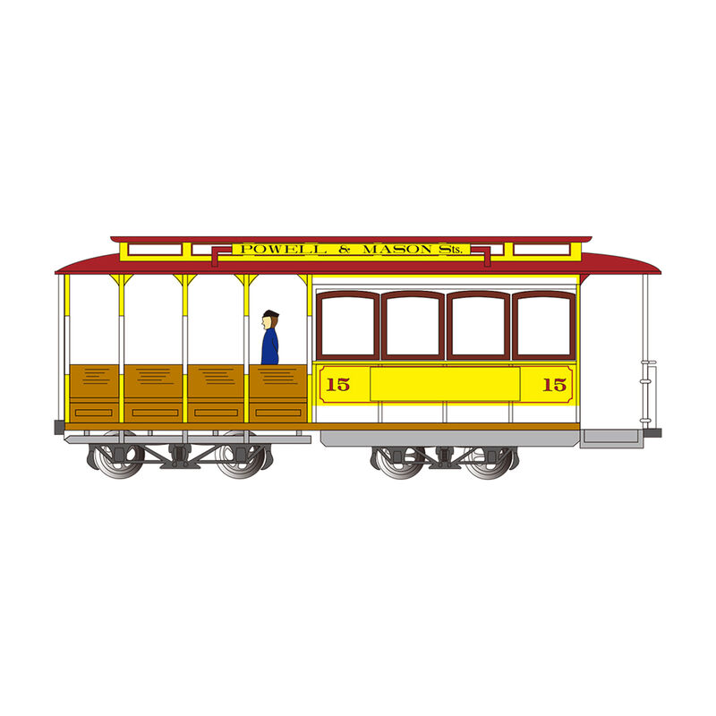 HO Cable Car Yellow & Red