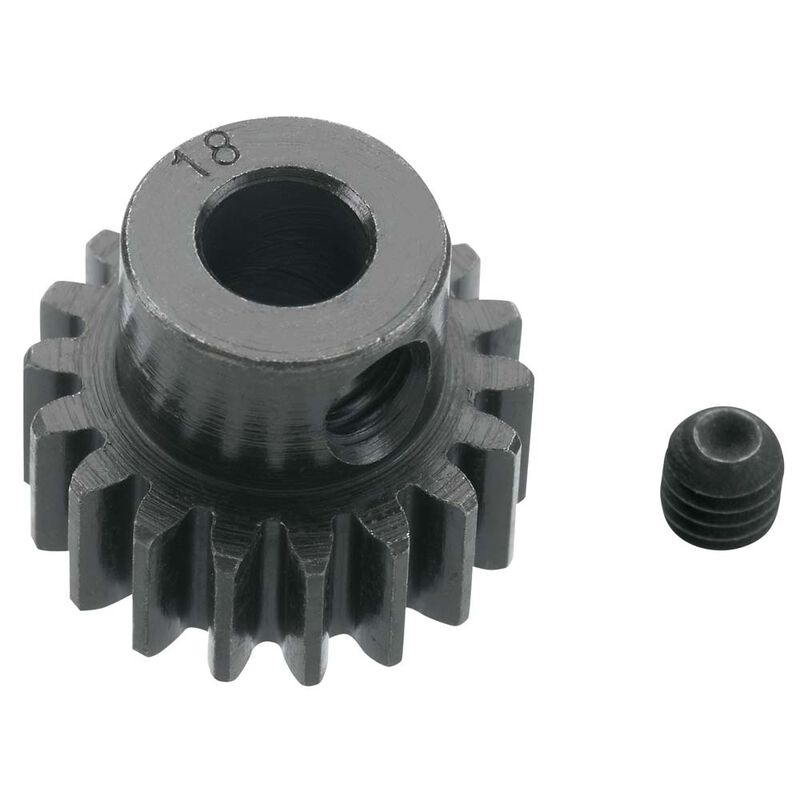 Extra Hard 18 Tooth Blackened Steel 32p Pinion, 5mm