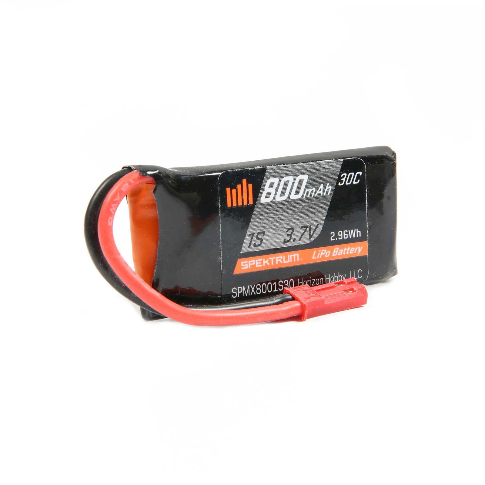 3.7V 800mAh 1S 30C LiPo Battery: JST