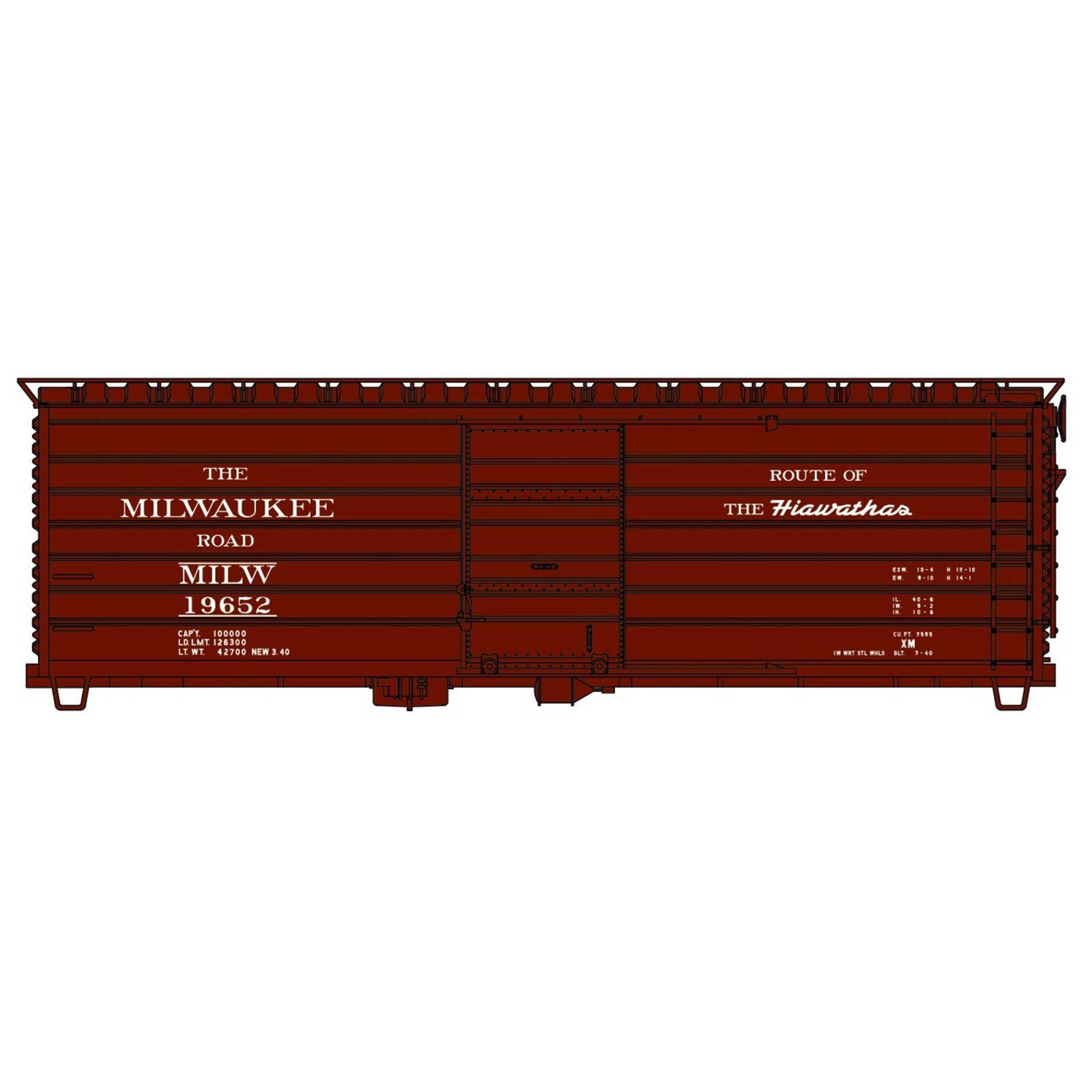 HO Rib Side Steel Boxcar MILW Hiawathas
