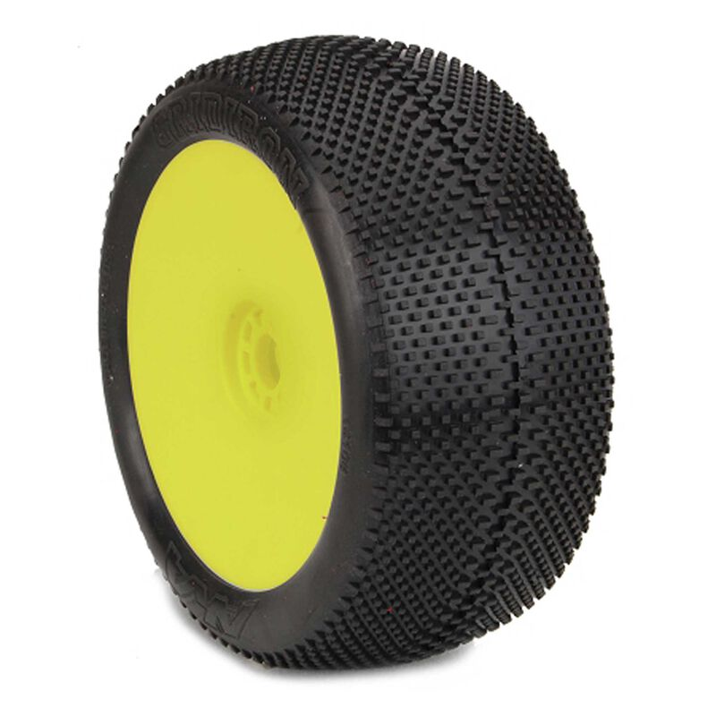 1/8 Truggy GRIDIRON (Soft, Long Wear) EVO Mounted Tires, Yellow (2)