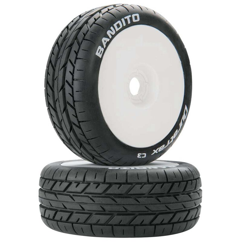 Bandito 1/8 C3 Mounted Buggy Tires, White (2)