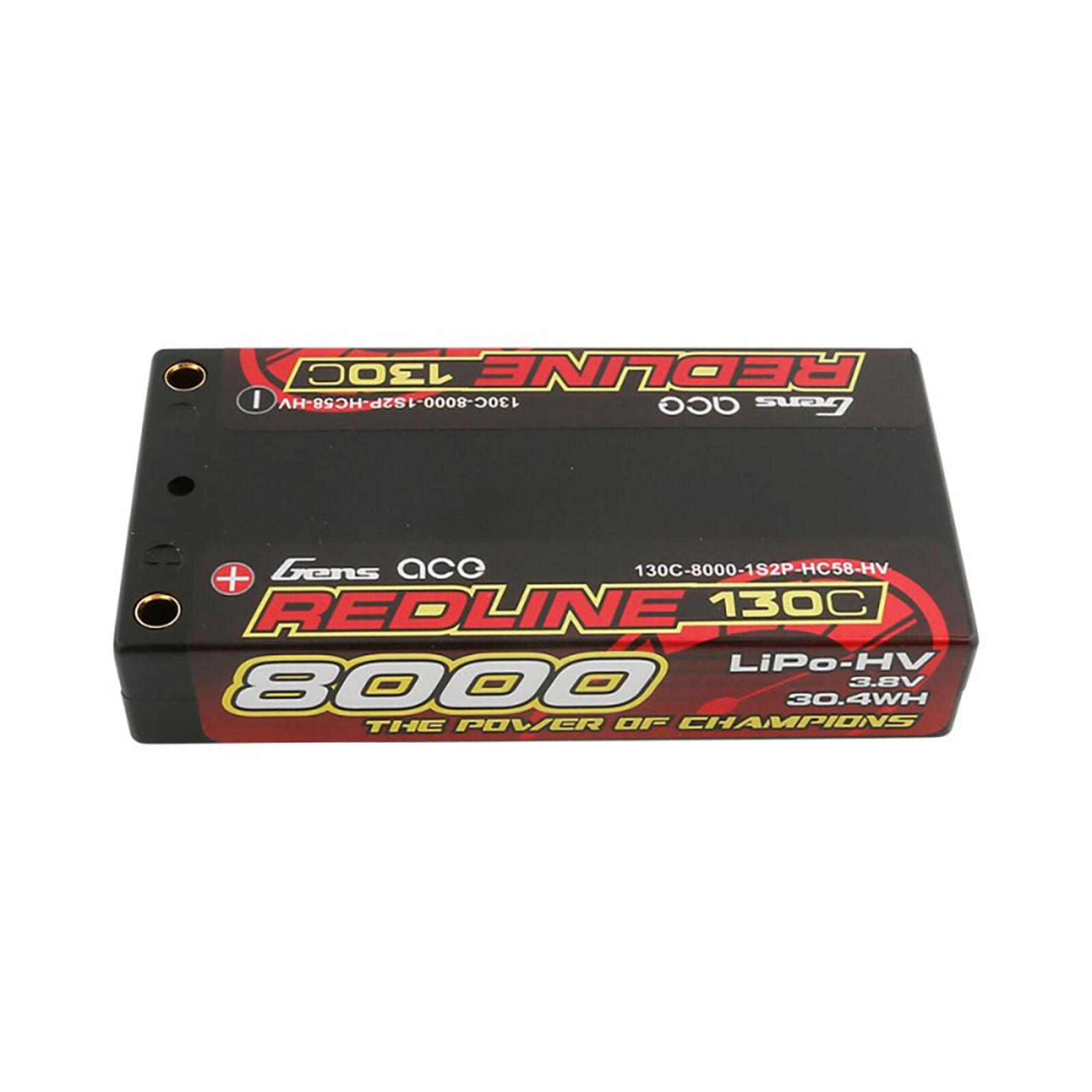 3.8V 8000mAh 1S 130C HV LiPo: 4.0mm Bullet