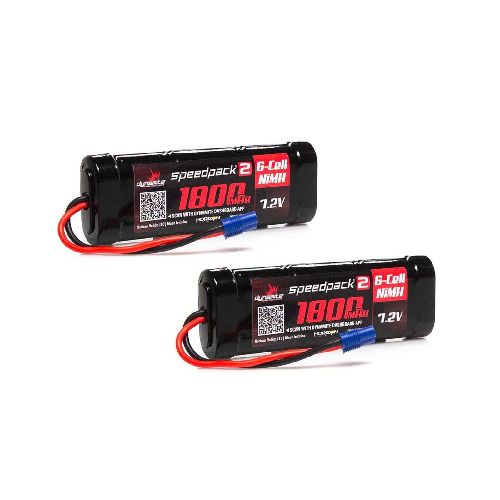 7.2V 1800mAh 6 Cell Flat NiMH Speedpack2 Battery: EC3 (2)