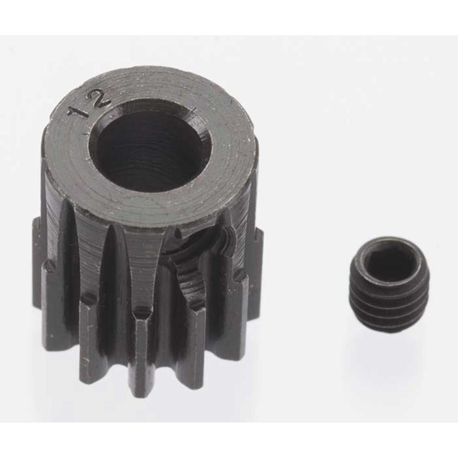Extra Hard 12 Tooth Blackened Steel 32p Pinion, 5mm