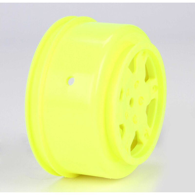 1/10 Front/Rear SCT 2.2/3.0 Wheels, 12mm Hex, Yellow (2): 22 SCT