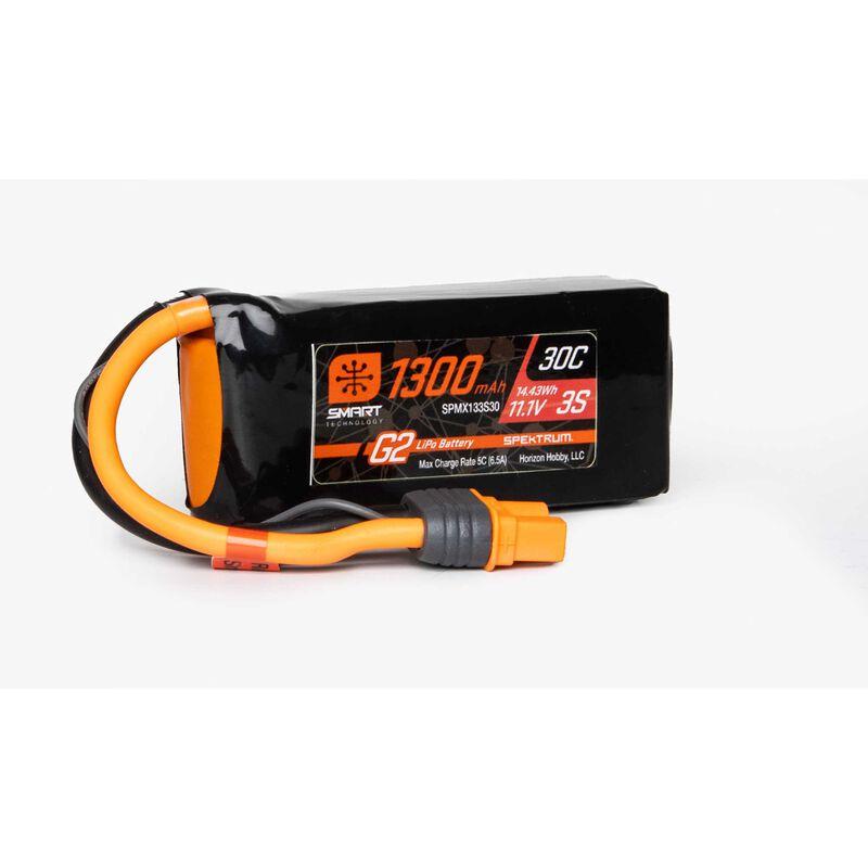 11.1V 1300mAh 3S 30C Smart G2 LiPo Battery: IC3