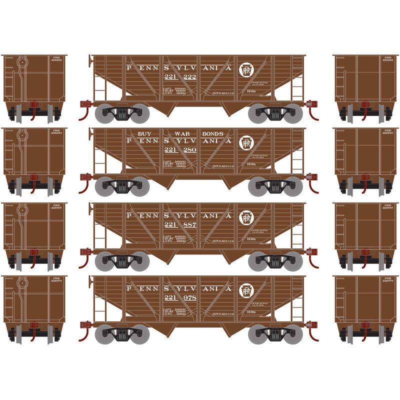 HO 34' 2-Bay Hopper with Coal Load PRR War Bonds#1(4)