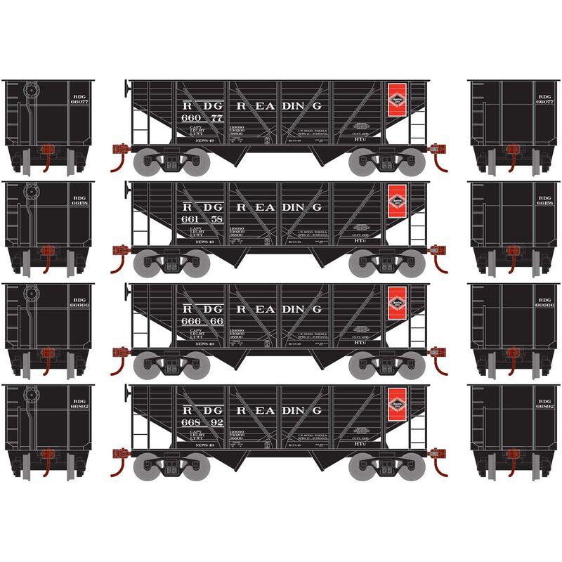 HO 34' 2-Bay Hopper with Coal Load RDG #1 (4)