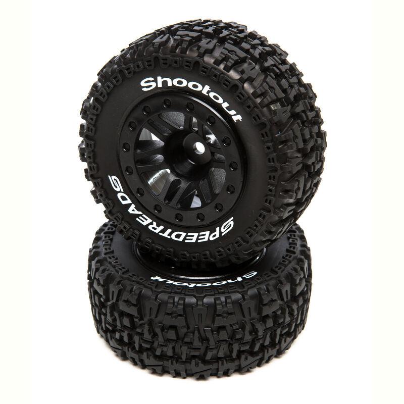 SpeedTreads Shootout SC Front Black Mounted (2): Traxxas Slash