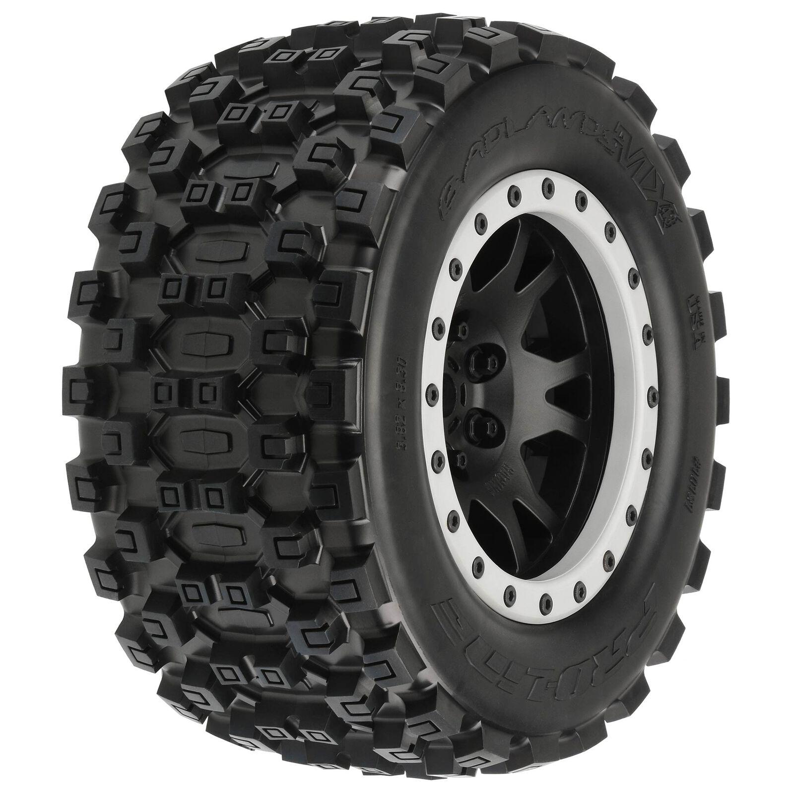 Badlands MX43 Pro-Loc Mounted, Impulse Black Wheels with Grey Rings (2): X-Maxx