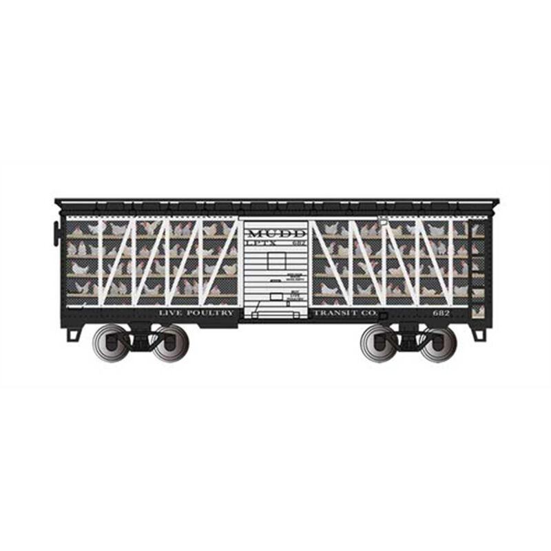 HO Trans Car Live Poultry Co #682, Black & White
