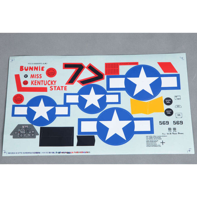 Decal Sheet: P51D Red Tail 800mm