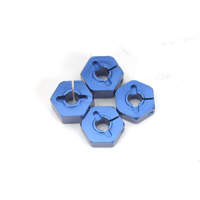 14mm Clamp Aluminum Wheel Hex Adapter with Hardware (4pc), Blue