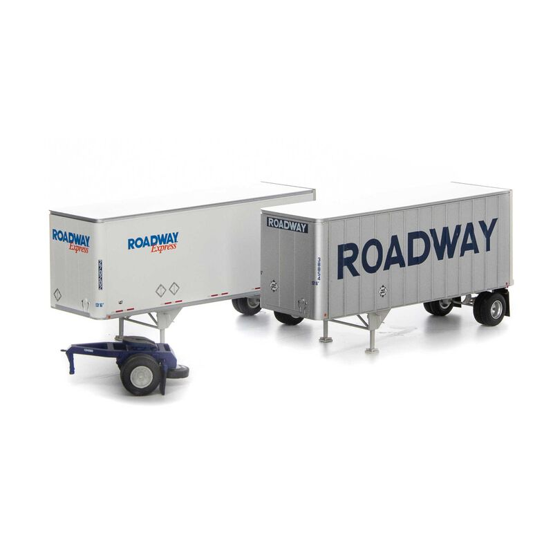 HO RTR 28' Trailers w/Dolly, Roadway/Express (2)