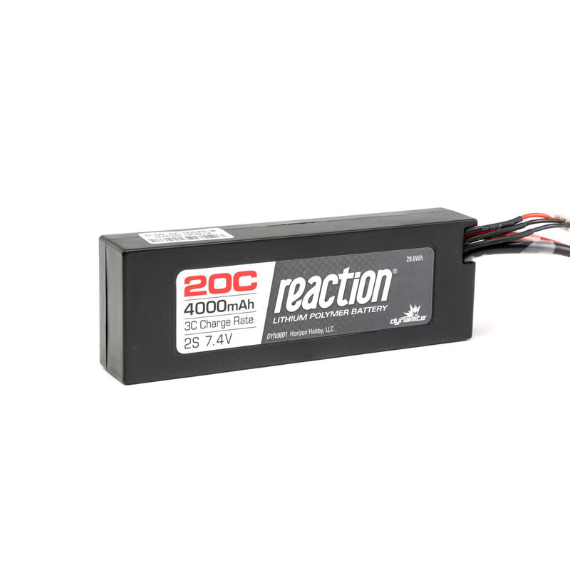 7.4V 4000mAh 2S 20C Reaction Hardcase LiPo Battery: EC3