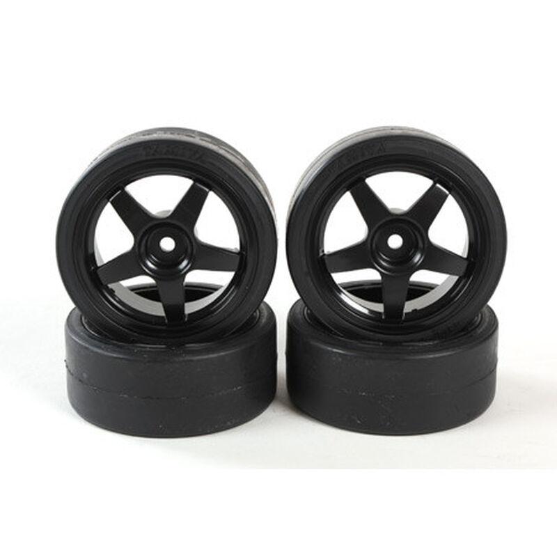 1/10 TT01 Pre-mounted 26mm Drift Tires, 12mm Hex (4)