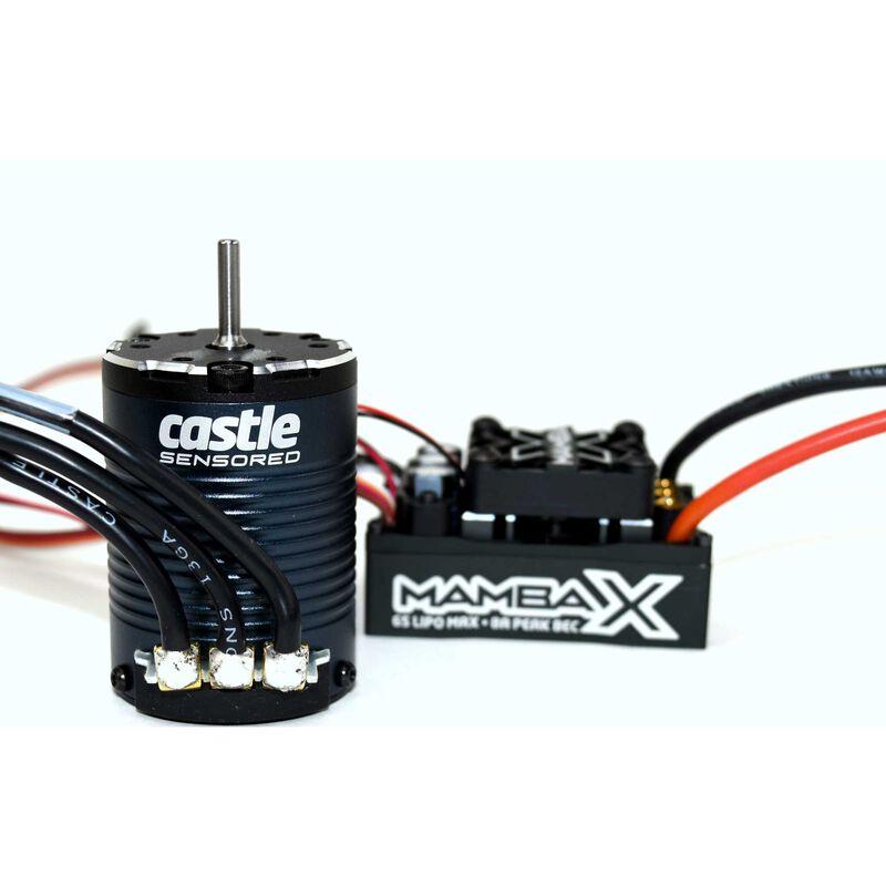 Mamba X Waterproof ESC/1406-3800Kv Sensored Brushless Motor Combo: 4mm Bullet