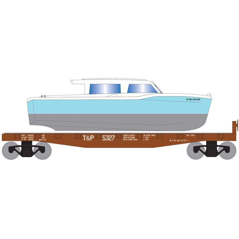 HO 40' Flat w Blue Boat T&P #5327