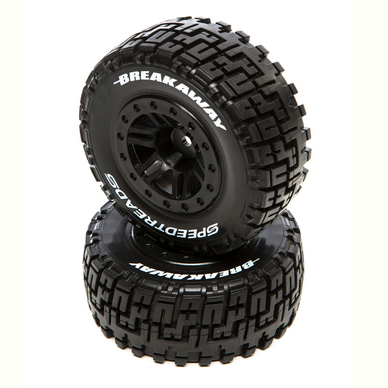 SpeedTreads Breakaway SC Front Black Mounted (2): Traxxas Slash/Rustler, ECX 4X4