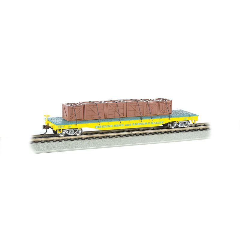 HO Flat Car w Crate Load Ringling Bros Yellow