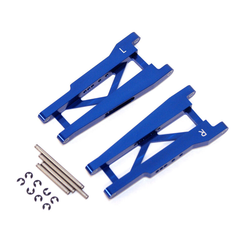 Aluminum Rear Suspension Arms with Hinge-Pins, Blue: Stamped, Rustler