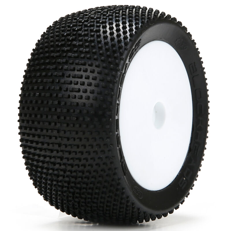 1/14 Blockhead Front/Rear 2.0 Pre-Mounted Tires, 12mm Hex (2): Mini 8T