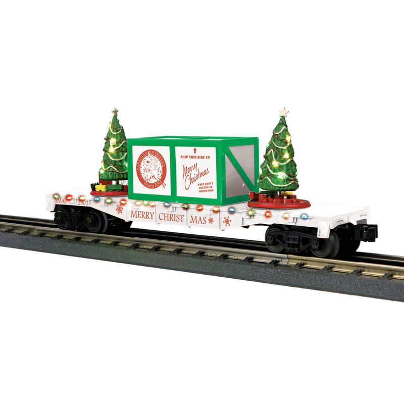 O-27 Flat Car with Lighted Christmas Trees White