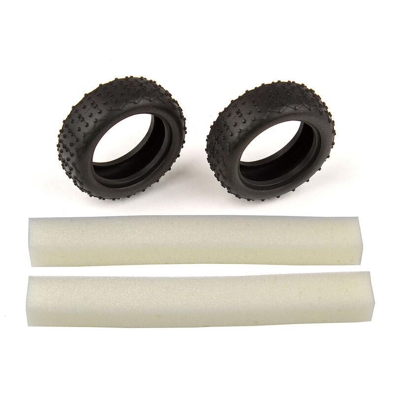 1/14 Narrow Mini Pin Tires with Inserts: 14B, 14T