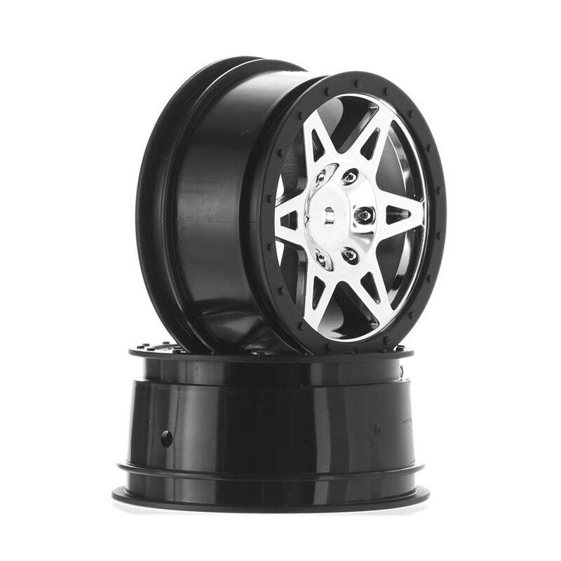 1/10 Front 2.2/3.0 Wheels, 12mm Hex, Chrome (2): Raider
