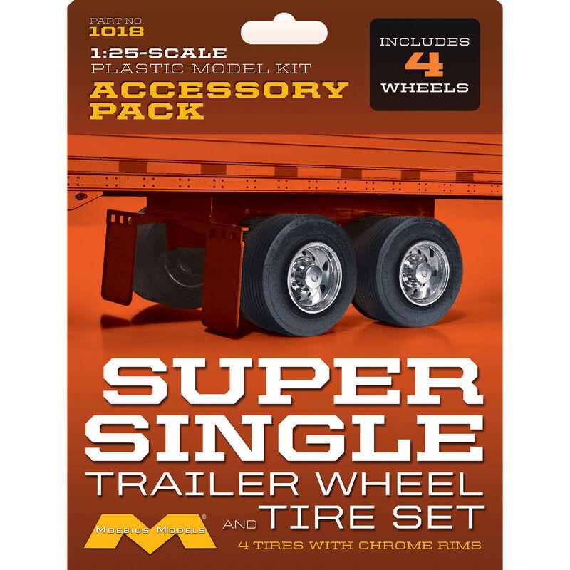 1/25 Super Single Trailer Wheel & Tire Set (4)
