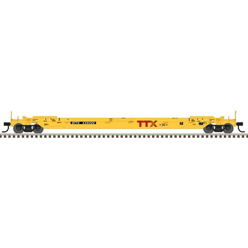 HO 48' Well Car TTX next load any road #456202, Yellow/Black/White